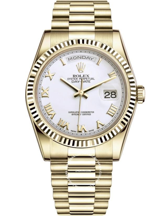 Đồng hồ Rolex Day-Date 118238-0122 White Index 36