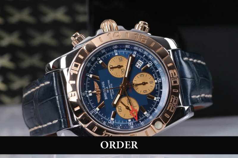 Đồng hồ Breitling Chronomat 44 GMT Chronograph Steel & Rose Gold Blue Dial CB042012/C858 (lướt)